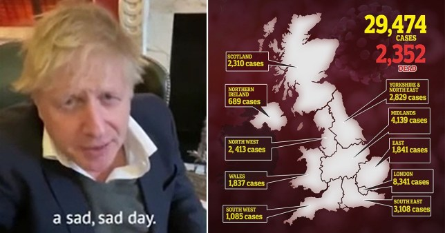 Boris says it's been a 'sad sad day' in quarantine video as UK deaths surge by 563 to 2,352
