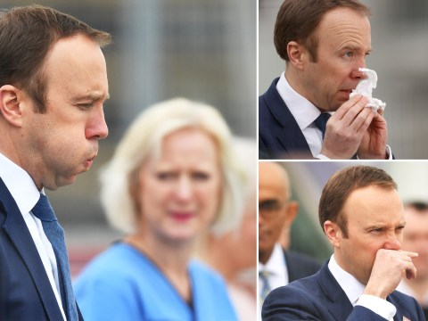 Matt Hancock looks a little worse for wear as he opens NHS Nightingale Hospital