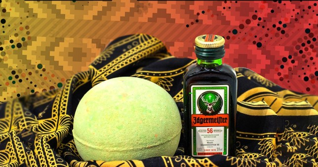 Jägermeister bath bomb and small jager bottle on a colourful background