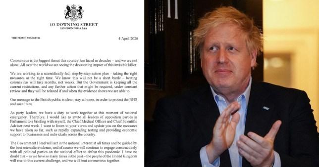 Letter to opposition leaders (left) and Prime Minister Boris Johnson (right)