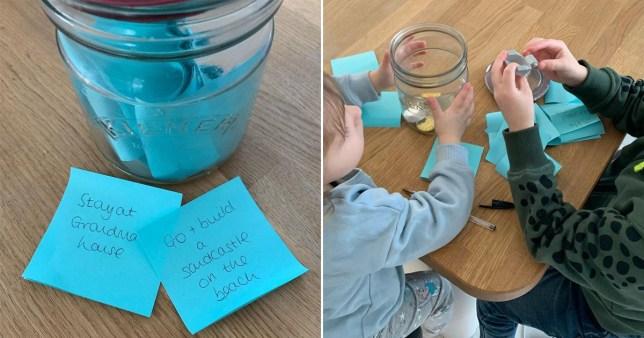 Split image of a jar with children's bucket list wishes
