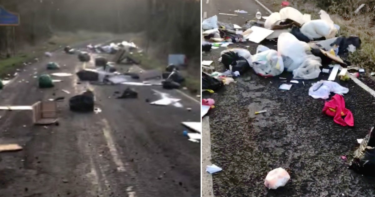 Fly-tippers block entire road after waste centres are closed across UK