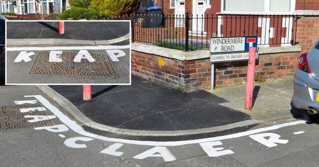 A furious resident who is sick of people parking on a busy street corner has taken things into their own hands - with a misspelt warning to 'keap claer'.