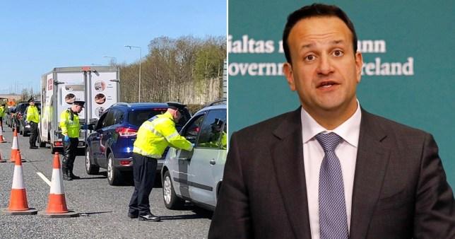 Garda stopping cars (left) and Ireland's Taoiseach, Leo Varadkar (right)