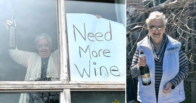 Annette Muller holds up her sign saying she needs more wine