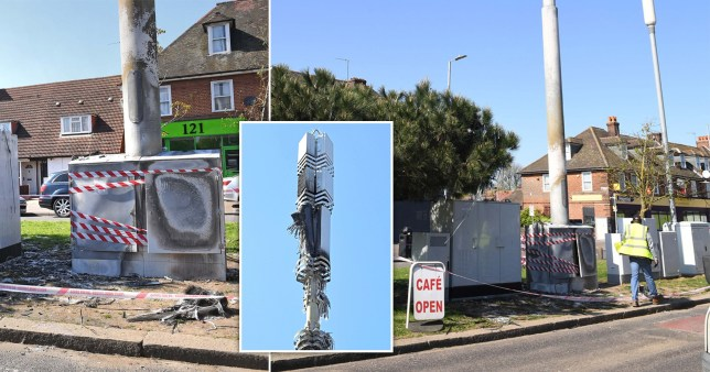 A damaged phone mast in Dagenham, east London following a suspected arson attack over the Easter weekend fulled by conspiracy theories linking 5G to the spread of coronavirus