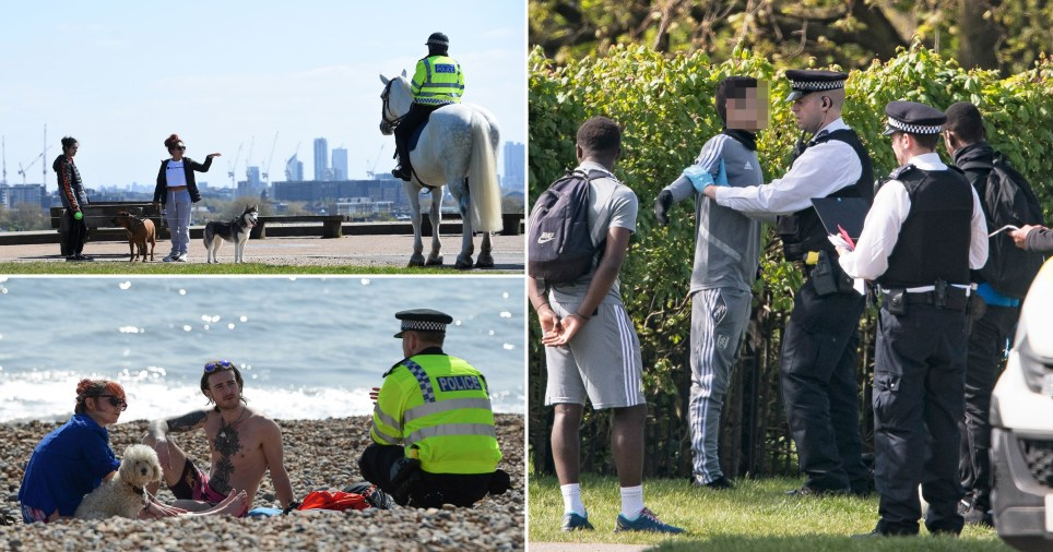 Police approach members of the public in the UK as they enforce coronavirus lockdown rules