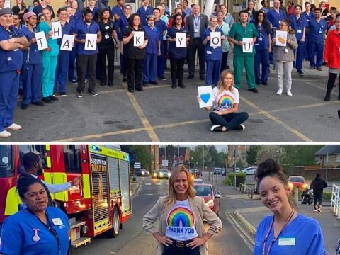 Amanda Holden surprises NHS staff outside West Middlesex hospital during coronavirus crisis
