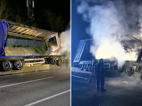 Lorry bursts into flames after crash while driver 'was high on cannabis'