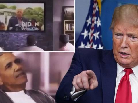 Trump shares doctored campaign video mocking Obama for endorsing Biden