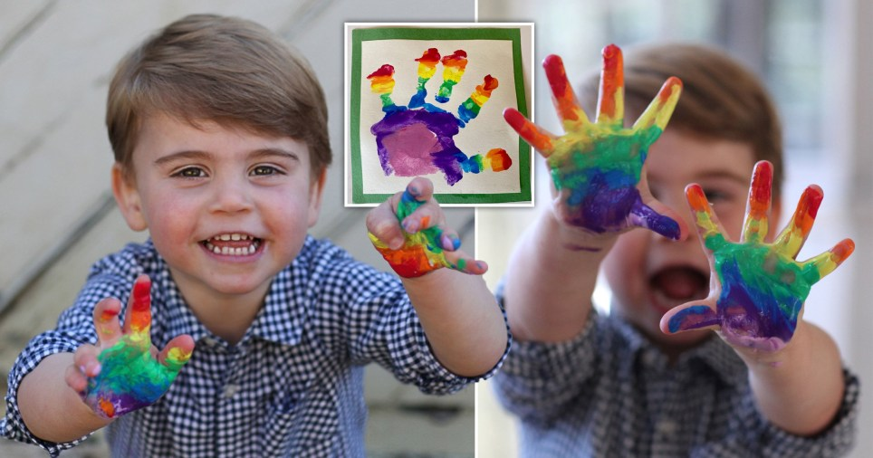 Prince Louis shows off his rainbow hands in his birthday photos