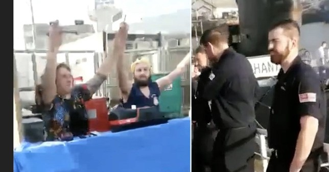 Footage of the crew showed sailors dancing and laughing, and a source told the BBC some were drinking alcohol.