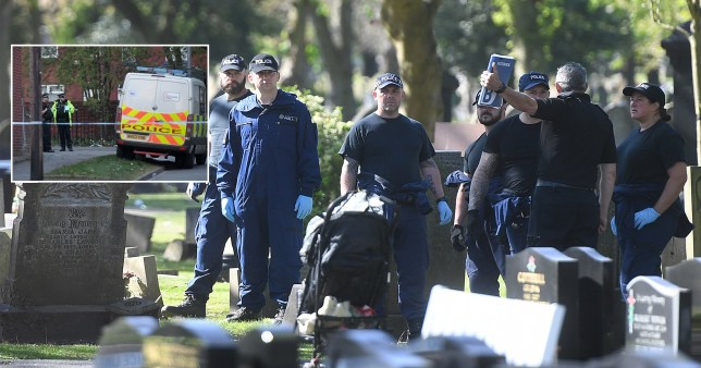 Police at the scene of a funeral where a gunman was stabbed after opening fire