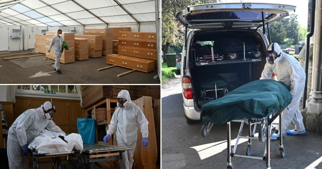 Bodies transported at temporary morgues across the UK amid the coronavirus pandemic