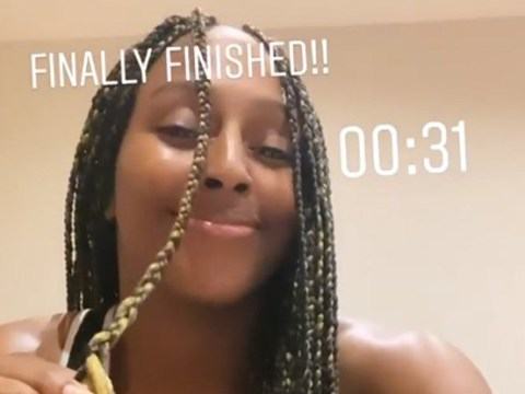 Alexandra Burke shows off braiding skills in lockdown as she spends all day working on new style