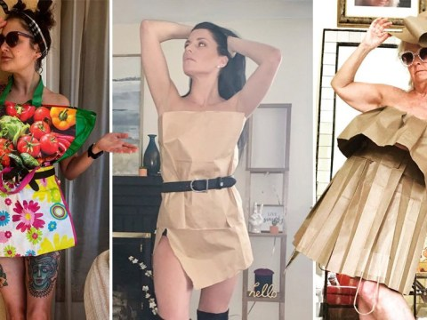 People are now making dresses out of shopping bags because of lockdown boredom