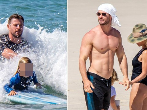 Chris Hemsworth is basically a Norse God as he and Elsa Pataky enjoy family trip to beach during lockdown