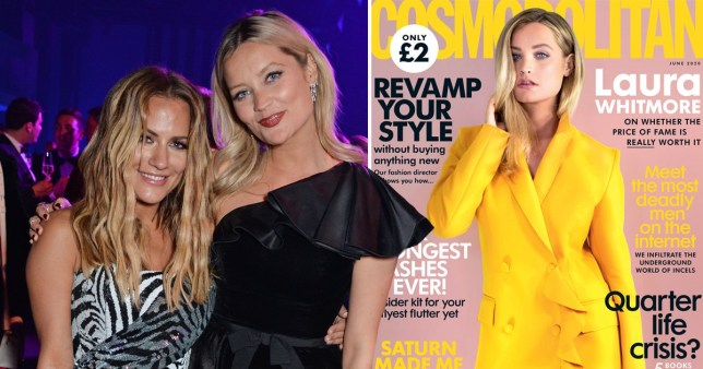 Laura Whitmore with Caroline Flack and on the cover of Cosmopolitan