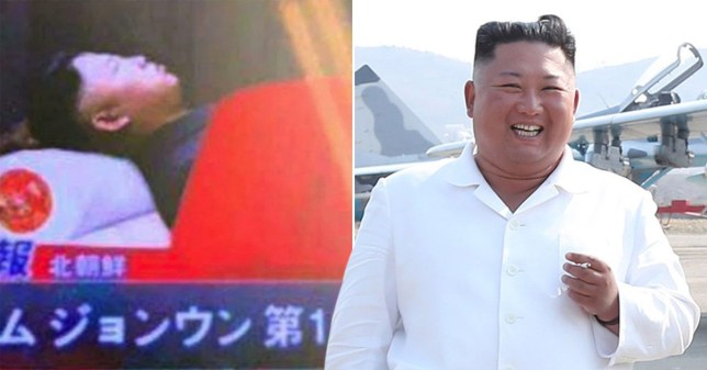 'Fake' image of Kim Jong-un lying in glass coffin (left) and photo of the North Korean dictator in a white shirt