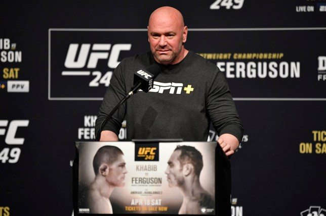 Dana White speaks from the podium at a UFC press conference