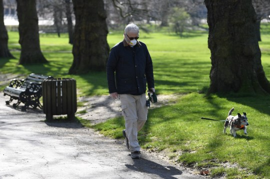 epa08317939 A man wearing a face mask walks his dog in Green Park in London Britain, 24 March 2020. Britain's Prime Minister Johnson has implemented social distancing measures banning social gatherings and groups of more than two people. People must stand more than two metres apart. Several European countries have closed borders, schools as well as public facilities, and have cancelled most major sports and entertainment events in order to prevent the spread of the SARS-CoV-2 coronavirus causing the Covid-19 disease. EPA/NEIL HALL