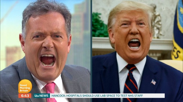 Mandatory Credit: Photo by ITV/REX (10598975k) Piers Morgan is compared to President Donald Trump 'Good Morning Britain' TV Show