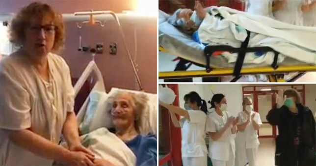 101yr old is applauded as she leaves hosp after beating coronavirus in Spain (Picture: Newsflash)