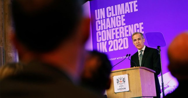 LONDON, ENGLAND - FEBRUARY 27: Outgoing Bank of England governor Mark Carney, COP26 Finance Adviser to the Prime Minister, makes a keynote address to launch the private finance agenda for the 2020 United Nations Climate Change Conference (COP26) at the Guildhall on February 27, 2020 in London, England. The 2020 United Nations Climate Change Conference (COP26) will be hosted in Glasgow from November 9 - November 19, 2020 under the presidency of the UK. (Photo by Tolga Akmen - WPA Pool/Getty Images)