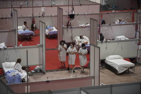 MADRID, SPAIN - APRIL 03: A general view of the Madrid Community Temporary Hospital authorized at IFEMA to treat patients with coronavirus on April 03, 2020 in Madrid, Spain. The coronavirus pandemic (COVID-19) has spread to at least 182 countries, killing more than 55,000 and infecting hundreds of thousands more. In Spain, the number of deaths now exceeds 10,000. (Photo by Denis Doyle / Getty Images)