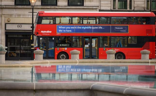 Mandatory Credit: Photo by Nick Harvey/REX (10602116j) Winkworth's bus advert in Trafalgar Square Coronavirus lockdown, London, UK - 03 Apr 2020