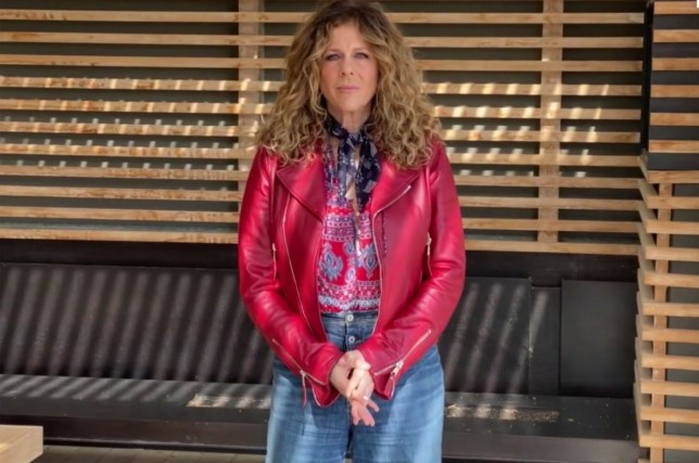 Rita Wilson marks first performance since coronavirus diagnosis at virtual NASCAR event