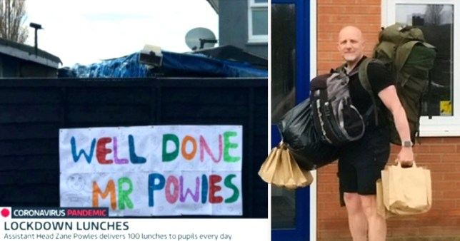 Teacher walks five miles a day to deliver 80 free school meals to children Zane Powles