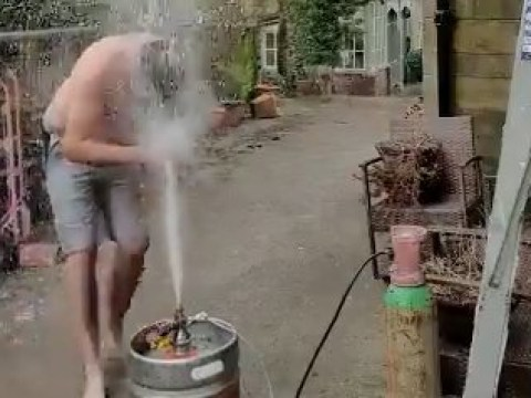 Pub owner takes a shower with gone off beer to entertain old customers