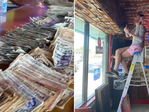 Bar owner removes $3,000 worth of dollar bills stapled to the walls to pay her employees