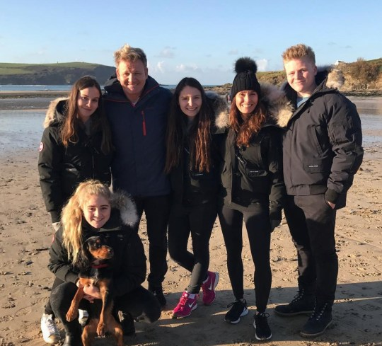 Gordon Ramsay pictured with wife Tana and their kids on beach in Cornwall