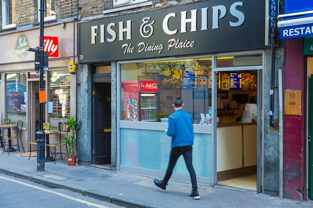 LONDON, UNITED KINGDOM - 2013/04/23: Fish and Chips shop in London's Soho. (Photo by Pawel Libera/LightRocket via Getty Images)