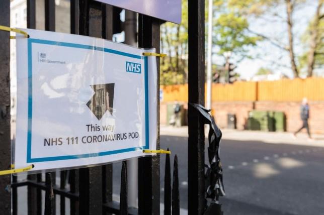 Sign to a coronavirus testing centre