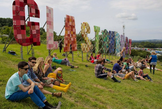 Mandatory Credit: Photo by REX/Shutterstock (2594932v) Textile 'Glastonbury' sign Glastonbury Festival, Somerset, Britain - 26 Jun 2013