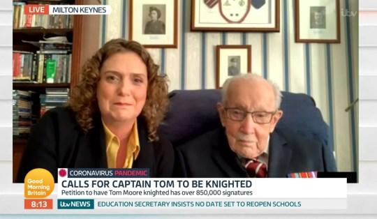 Mandatory Credit: Photo by ITV/REX (10618507h) Captain Tom Moore 'Good Morning Britain' TV Show, London, UK - 20 Apr 2020