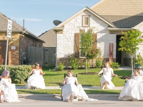 Neighbours wear their wedding dresses for socially distanced photoshoot