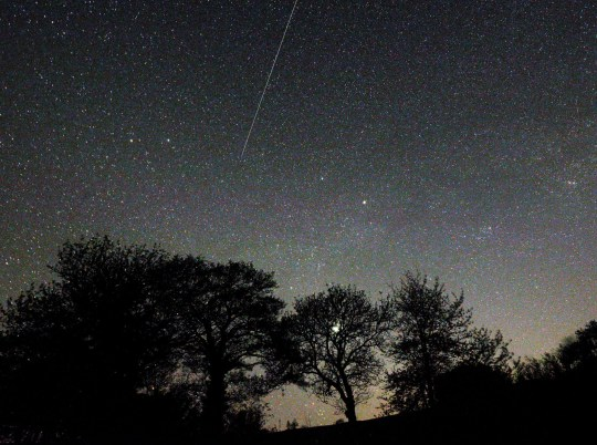 Mandatory Credit: Photo by Chas Breton/REX (10619381b) A 'Lyrid Meteor' falls to earth over the hills of Herefordshire near Longtown. Lyrid Meteor falls over Herefordshire, UK - 20 Apr 2020