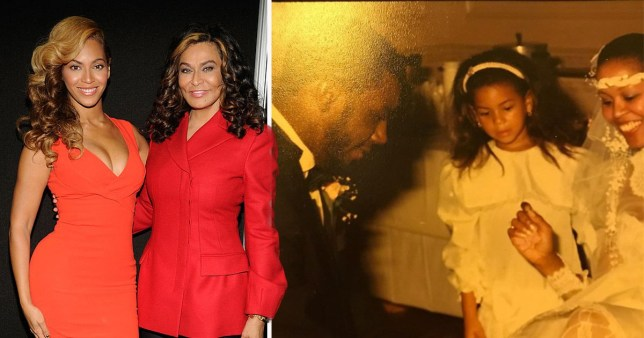 Beyonce and her mother; Beyonce and her mother's friend Sheila Campbell at her wedding