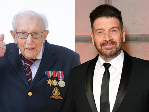 Nick Knowles helps Captain Tom Moore with home security following fundraising efforts