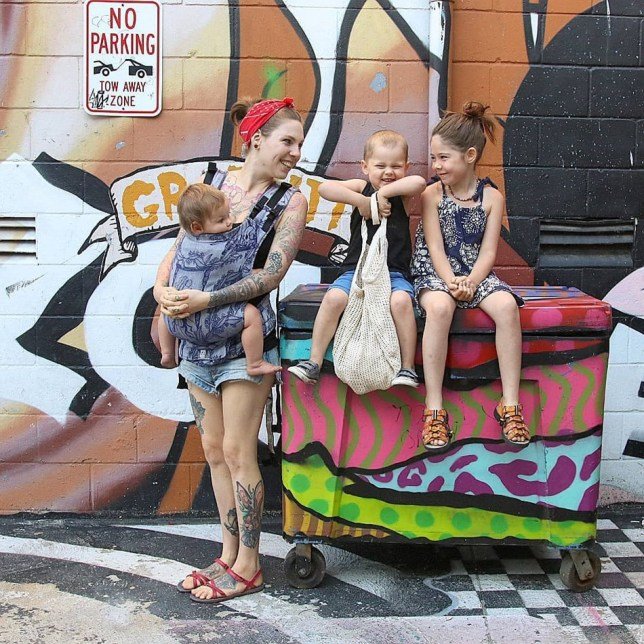 Amber Allen with her children