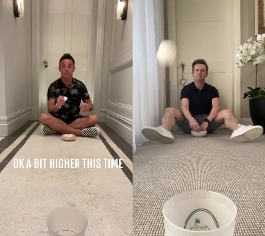 Ant and Dec play cup 'n' balls