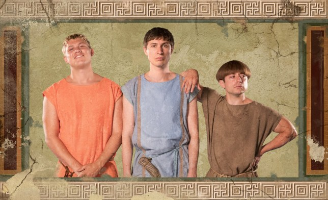 This image is strictly embargoed until 00.01 Tuesday 24th September 2019 From Rise Films Plebs: SR5 on ITV2 Pictured: Jason [Jon Pointing], Marcus [Tom Rosenthal] and Grumio [Ryan Sampson]. This photograph is (C) Rise Films and can only be reproduced for editorial purposes directly in connection with the programme or event mentioned above, or ITV plc. Once made available by ITV plc Picture Desk, this photograph can be reproduced once only up until the transmission [TX] date and no reproduction fee will be charged. Any subsequent usage may incur a fee. This photograph must not be manipulated [excluding basic cropping] in a manner which alters the visual appearance of the person photographed deemed detrimental or inappropriate by ITV plc Picture Desk. This photograph must not be syndicated to any other company, publication or website, or permanently archived, without the express written permission of ITV Picture Desk. Full Terms and conditions are available on the website www.itv.com/presscentre/itvpictures/terms For further information please contact: james.hilder@itv.com / 0207 157 3052