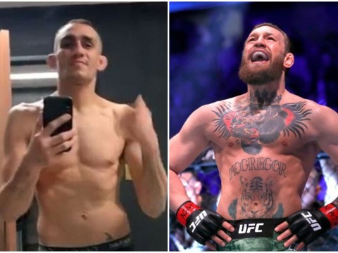 Conor McGregor laughs at Tony Ferguson after he weighed in for cancelled UFC 249 fight