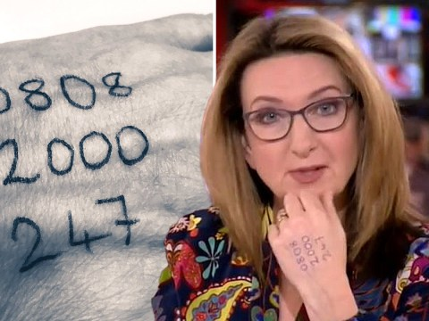 Victoria Derbyshire praised as she presents BBC News with domestic abuse helpline number on her hand