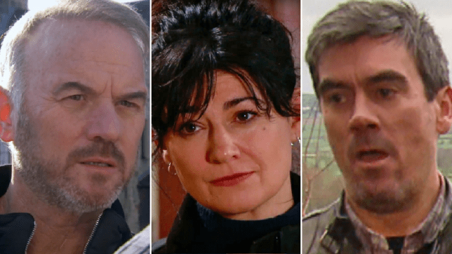 Cain, Moira and Malone in Emmerdale