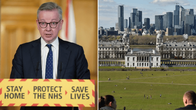 Michael Gove tells UK 'to resist temptation' to go out this sunny weekend